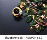 christmas composition with fir... | Shutterstock . vector #766934662
