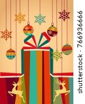 christmas red and green gift... | Shutterstock .eps vector #766936666