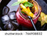 fruit tropical cocktail with...   Shutterstock . vector #766938832