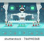 cartoon robot conducting...   Shutterstock .eps vector #766940368