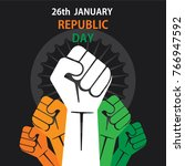 happy republic day of india... | Shutterstock .eps vector #766947592