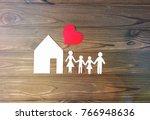 house  family  heart on a... | Shutterstock . vector #766948636