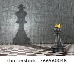 The concept of self-realization of self-development and career growth. A pawn with a crown that throws the shadow of a king
