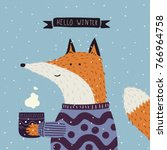 christmas cartoon new year... | Shutterstock .eps vector #766964758