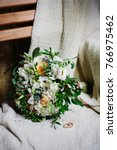 wedding bouquet and ring detail ... | Shutterstock . vector #766975462