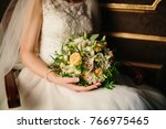 beautiful wedding bouquet color ... | Shutterstock . vector #766975465