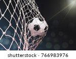 soccer ball in goal  | Shutterstock . vector #766983976