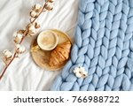 cup with cappuccino  croissant  ... | Shutterstock . vector #766988722