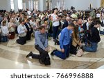 crowd of parishioners kneeling... | Shutterstock . vector #766996888