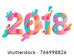 modern paper art happy new year ... | Shutterstock .eps vector #766998826