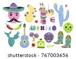 hand drawn mexican symbols. big ... | Shutterstock .eps vector #767003656