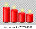 red candles set vector isolated | Shutterstock .eps vector #767009302
