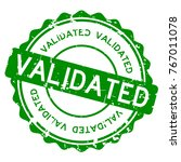 Stock vector grunge green validated wording round rubber seal stamp on white background 767011078