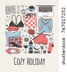 hand drawn cozy fashion... | Shutterstock .eps vector #767017252