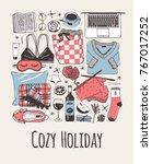hand drawn cozy fashion... | Shutterstock .eps vector #767017252