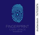 fingerprint scan set with... | Shutterstock .eps vector #767032876