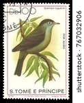 Small photo of Sao Tome and Principe - stamp 1979, Edition Fauna, Birds, Black capped Speirops, Zosterops lugubri
