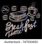 breakfast  menu sketch | Shutterstock .eps vector #767033602