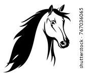 horse head black and white... | Shutterstock .eps vector #767036065