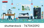 the workplace of freelance is... | Shutterstock .eps vector #767042092