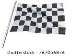 checkered black and white flag... | Shutterstock . vector #767056876