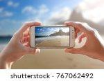 ipanema beach. photo camera of... | Shutterstock . vector #767062492