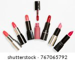 six lipsticks in stickers and...   Shutterstock . vector #767065792