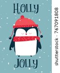 5x7 christmas card   penguin.... | Shutterstock .eps vector #767091808