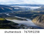 View of Yukon and Klondike River over Dawson City, Yukon, Canada