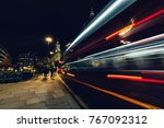 city light trails of moving red ... | Shutterstock . vector #767092312