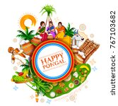 illustration of happy pongal... | Shutterstock .eps vector #767103682