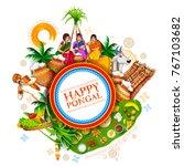 illustration of happy pongal... | Shutterstock .eps vector #767103682