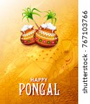 illustration of happy pongal... | Shutterstock .eps vector #767103766