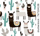 seamless pattern with llama ... | Shutterstock .eps vector #767104138