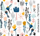 seamless pattern with colibri... | Shutterstock .eps vector #767104378