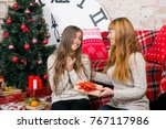 mother and daughter have fun... | Shutterstock . vector #767117986