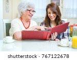 grandmother and granddaughter...   Shutterstock . vector #767122678