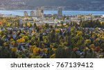 Kelowna Skyline with Okanagan Lake in the Background with fall colours Kelowna British Columbia Canada