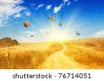 Yellow Field With Butterfly An...