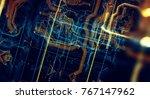 abstract technological... | Shutterstock . vector #767147962