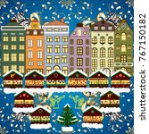 village in christmas  banner on ... | Shutterstock . vector #767150182