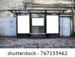 bus stop blank frame mockup | Shutterstock . vector #767155462