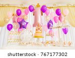 celebrate birthday party with... | Shutterstock . vector #767177302