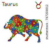 zodiac sign taurus with filling ... | Shutterstock .eps vector #767203012