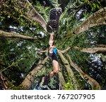 man running over the mountain. | Shutterstock . vector #767207905