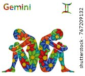zodiac sign gemini with filling ...   Shutterstock .eps vector #767209132