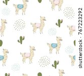 cute seamless pattern with hand ... | Shutterstock .eps vector #767223292