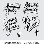 amazing grace and jesus loves... | Shutterstock .eps vector #767237182