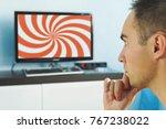 brainwashed elderly man....   Shutterstock . vector #767238022