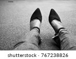 a girl with jeans and hight... | Shutterstock . vector #767238826